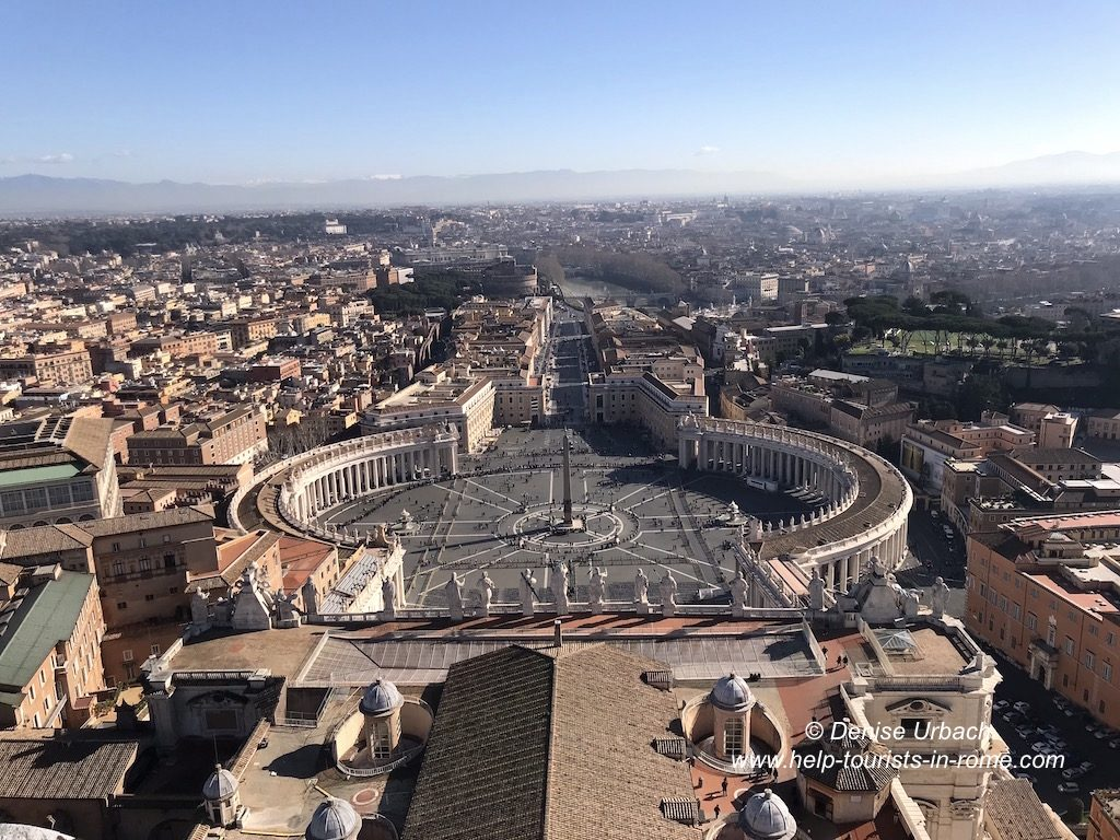 View over the St. Peter's Square from dome of Basilica