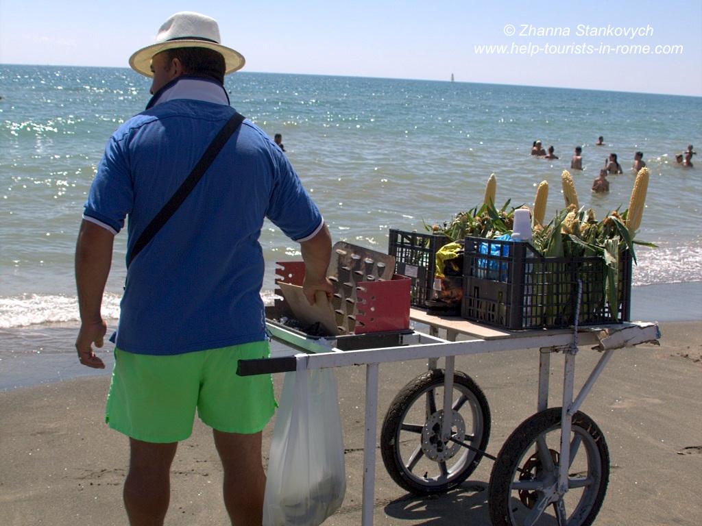 Ostia Strand Verkäufer