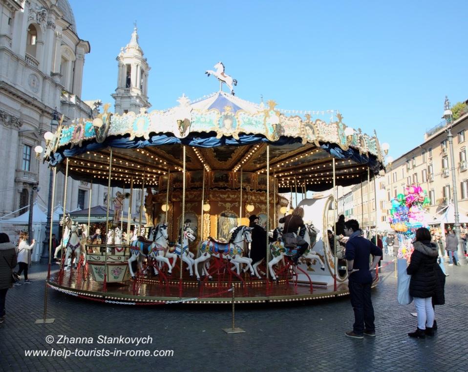 Karussel Piazza Navona Weihnachten Rom