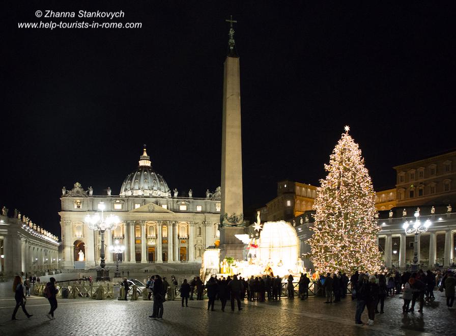 Petersdom mit Krippe Weihnachten