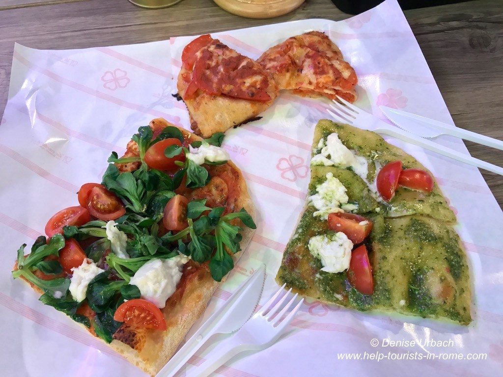 eating pizza in Rome