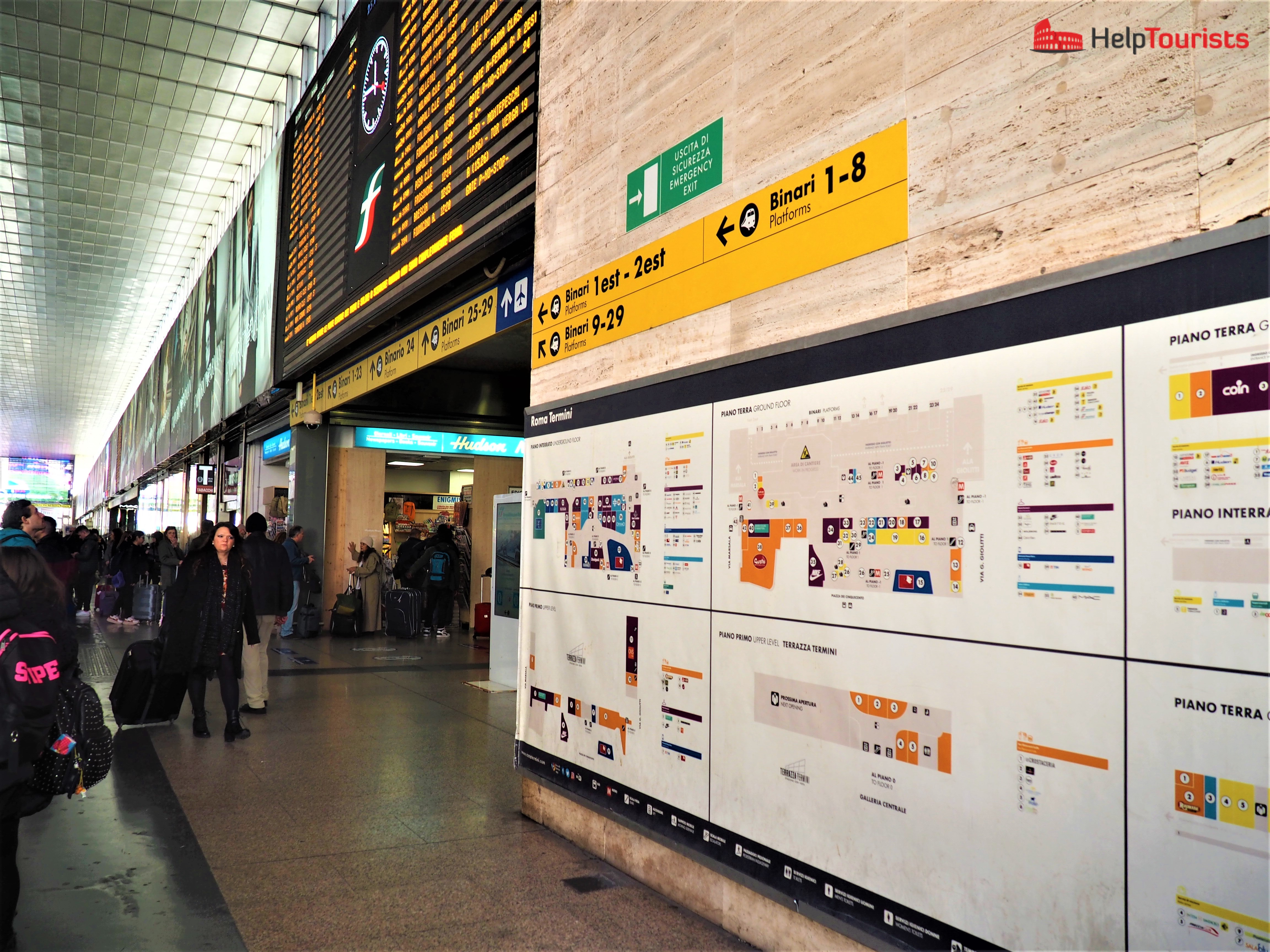 Rome central train station Termini signs