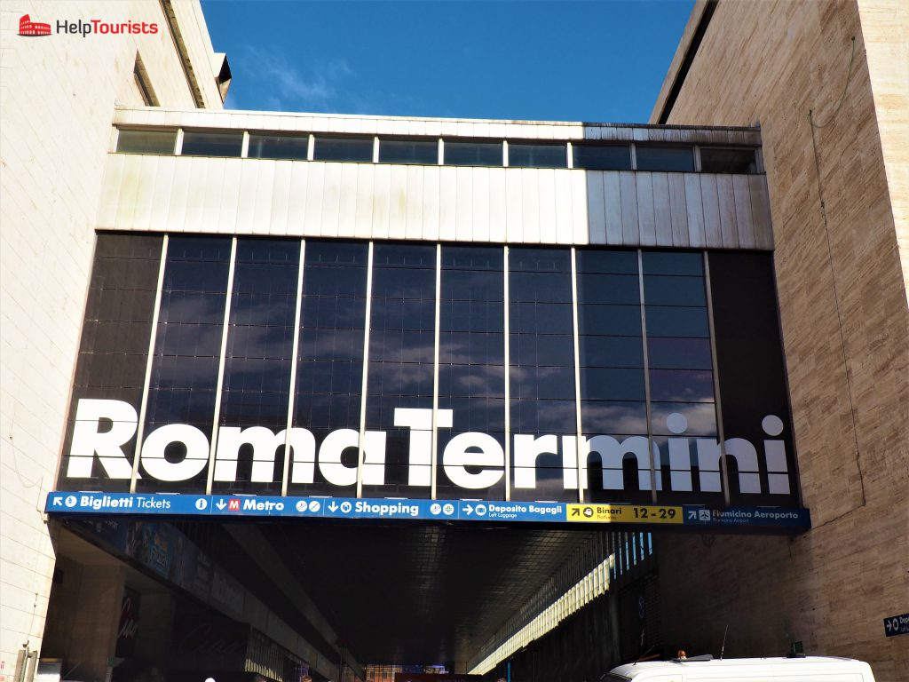 Rome central station termini outside signs