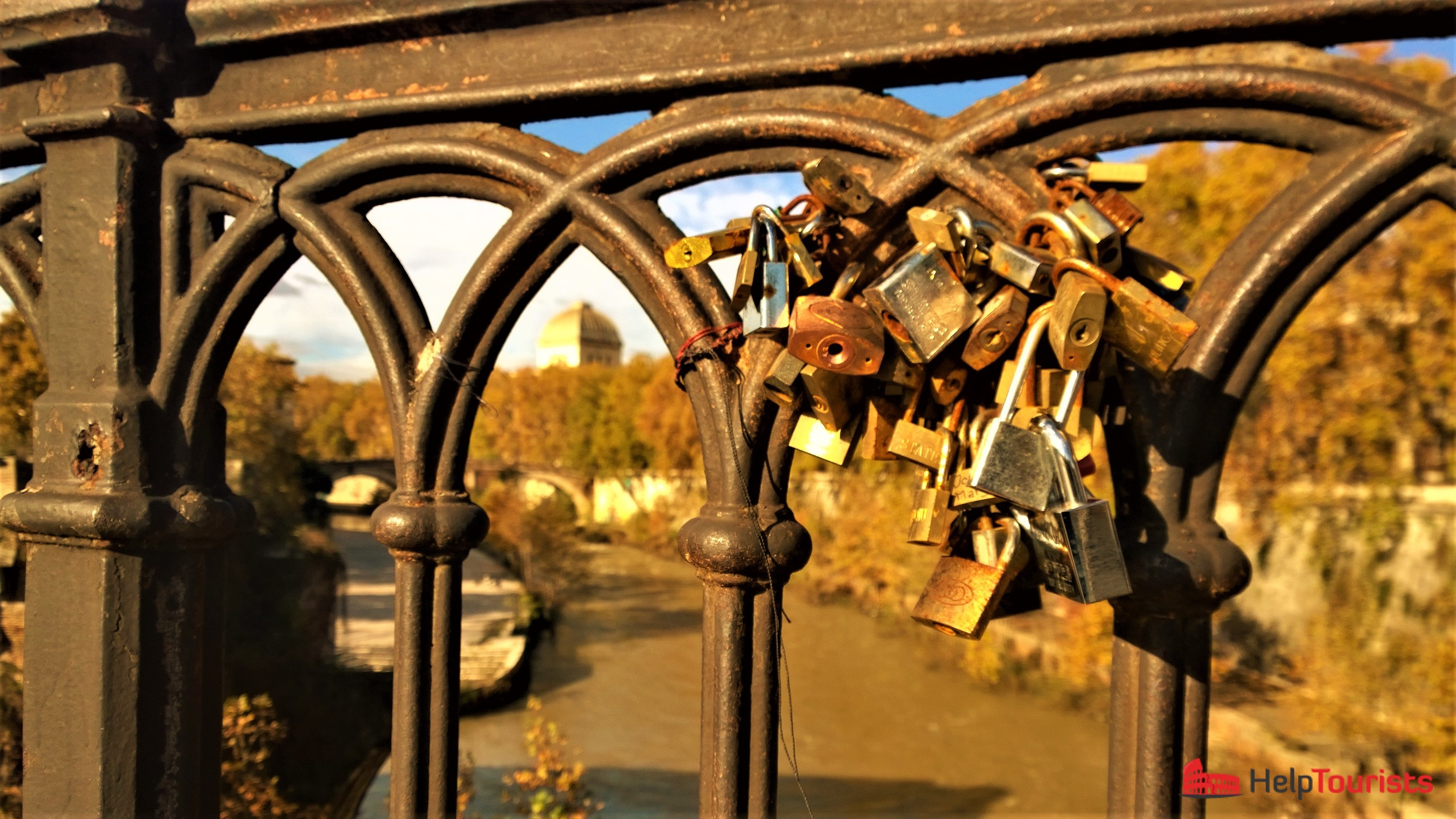 Rome autumn bridge love lock