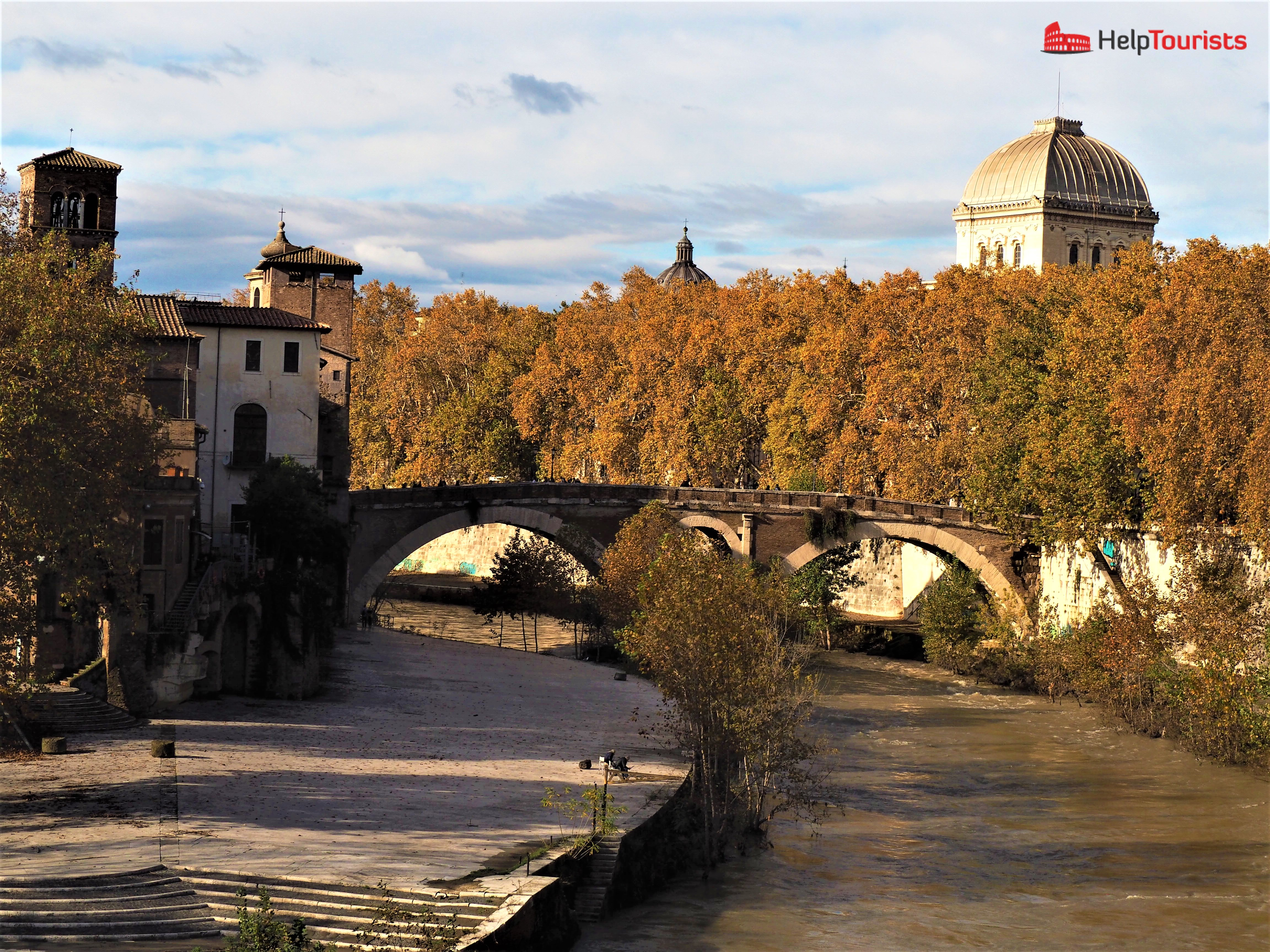 Rome autumn bridge Tiber